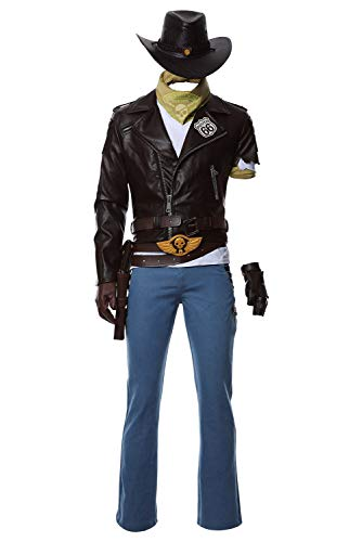 COSMOVIE Mens OW Jesse McCree Halloween Cosplay Costume Set Cowboy Leather Jacket Outfit