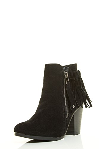 Breckelles Gail-26 Women's Belted Chunky Stacked Heel Ankle Booties Black (10)