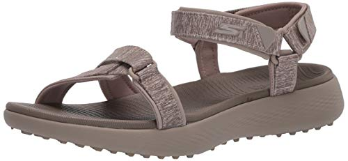Skechers Women's 600 Spikeless Golf Sandals Shoe, Taupe, 7 M US