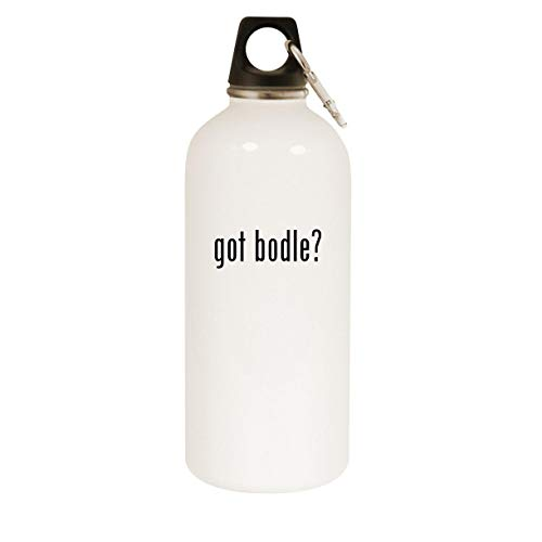 got bodle? - 20oz Stainless Steel White Water Bottle with Carabiner, White