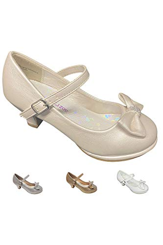 Gwen & Zoe Girl Dress Shoes Ivory for Weddings and Parties - Big and Little Girl 2 Inch High Heel with Sparkle and Strap for Flower Girl Shoes (Size 4, Ivory)