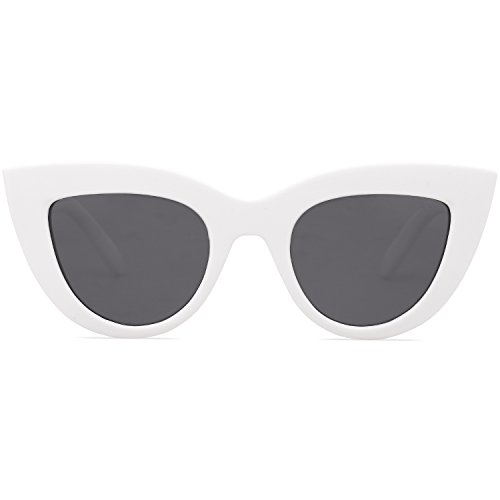 SOJOS Retro Vintage Cateye Sunglasses for Women Plastic Frame Mirrored Lens SJ2939 with White Frame/Grey Lens