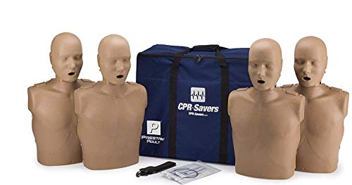 CPR Savers Prestan Professional Adult CPR Training Manikin with 2019 AHA Feedback Monitor, Dark Skin, 4-Pack, PP-AM-400M-DS