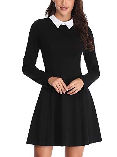 FENSACE Maid Dress Wednesday Addams Costume Goth Dresses for Women Black