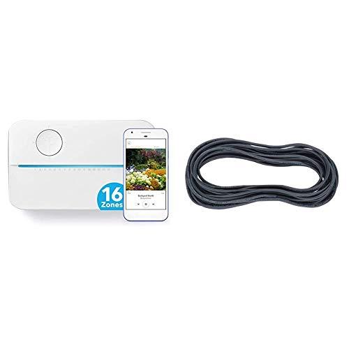 Rachio 3 Smart Sprinkler Controller, 16 Zone 3rd Generation, Alexa and Apple HomeKit Compatible with Hyperlocal Weather Intelligence Plus and Rain & Orbit 57088 7Strd 100' Wire Sprinklr, 100 Feet