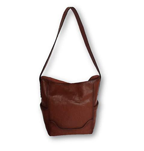 Frye Women's Leather Side Pocket Hobo Shoulder Bag, Medium, Cognac