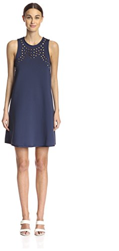 Cynthia Rowley Women's Perforated A-Line Dress, Navy, 10