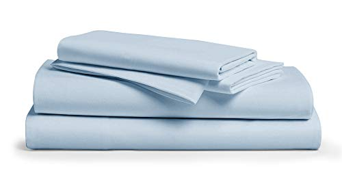 1000-Thread-Count 100% Pure Cotton Bed Sheets - 4 Pc Cal King Size Light Blue Sheet Set, Single Ply Long Staple Combed Cotton Yarns, Best Luxury Sateen Weave, Fits Mattress Upto 18'' Deep Pocket