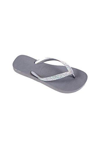 Lori Jack Swarovski Crystal Flip Flops (37/38, Silver/AB Crystals)