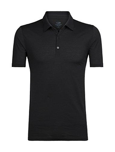 Icebreaker Merino Men's Tech Lite Short Sleeve Polo Shirt, Black, Large