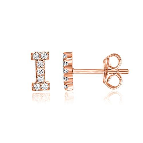 PAVOI 14K Rose Gold Plated Sterling Silver CZ Alphabet Letter Earrings | Initial Earrings for Girls | Letter I