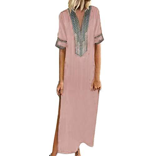 TUSANG Women Skirts Printed Long Sleeve V-Neck Maxi Dress Hem Baggy Kaftan Long Dress Slim Fit Comfy Dress(Pink,US-18/CN-5XL)
