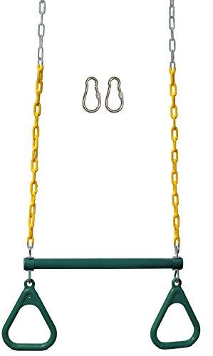 Jungle Gym Kingdom 18' Trapeze Swing Bar Rings 48' Heavy Duty Chain Swing Set Accessories & Locking Carabiners (Green)