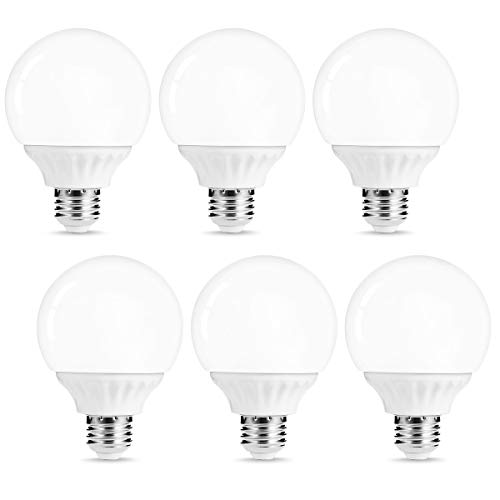 LOHAS G25 LED Bulb Vanity Light Globe Bulbs, 40W-50W Equivalent LED Makeup Mirror Lights, Soft White 3000k 6W LED 500Lm Brightness E26 Medium Base Bulb, Non-Dimmable G25 Globe Lighting for Home, 6Pack
