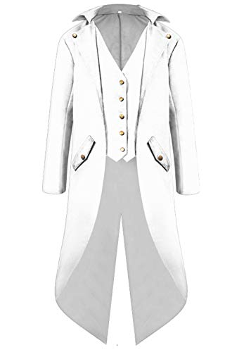 Mens Gothic Medieval Tailcoat Jacket, Steampunk Vintage Victorian Frock High Collar Coat Halloween Costumes (M, White)