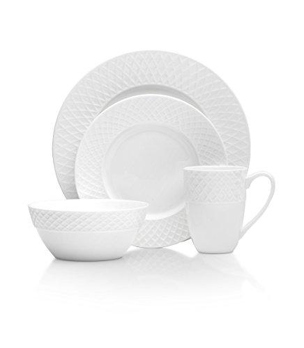 Mikasa Trellis 16 Piece Dinnerware Set, Service for 4, White