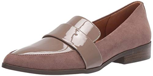 Dr. Scholl's Shoes Women's Agnes Loafer, Taupe Grey Microfiber/Patent, 6 M US