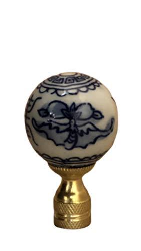 Bethesda Design, LLC Blue & White Chinoiserie Finial Lamp Shade Topper Porcelain Asian Chinese Motif Oriental Lamp