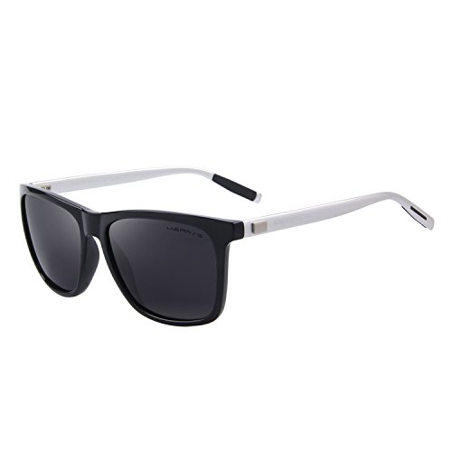 MERRY'S Unisex Polarized Aluminum Sunglasses Vintage Sun Glasses For Men/Women S8286 (Black&Silver, 56)
