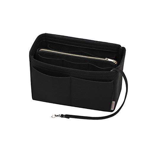 Purse Organzier, Bag Organizer with Metal Zipper, Purse Organizer Insert (X-large, Black)
