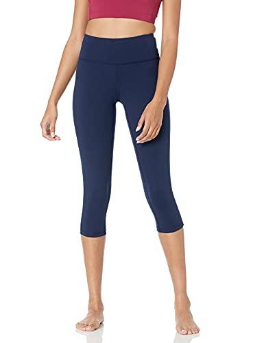 Amazon Essentials Women's Studio Mid-Rise Capri Yoga Legging, Navy, Medium