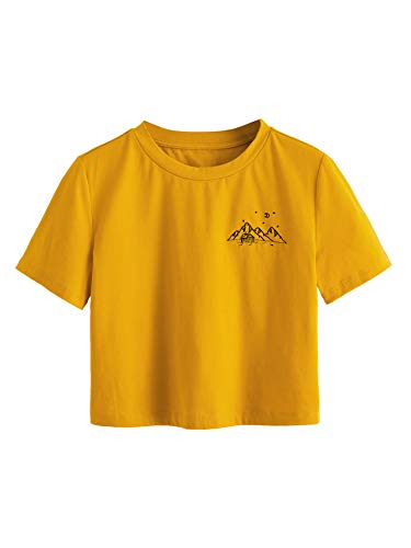 MakeMeChic Women's Letter Print Crop Tops Casual Short Sleeve Tees A Mustard XS