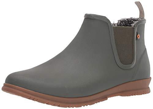 BOGS Women's Sweetpea Chelsea Waterproof Insulated Winter Snow Boot, Olive, 10