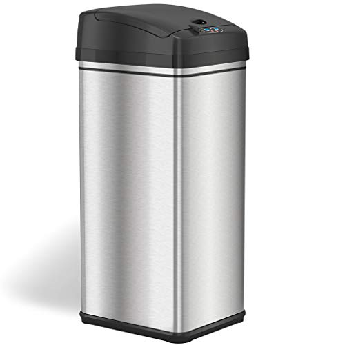 iTouchless 13 Gallon Automatic Trash Can with Odor-Absorbing Filter and Lid Lock, Sensor Kitchen Garbage Bin, Black/Stainless Steel