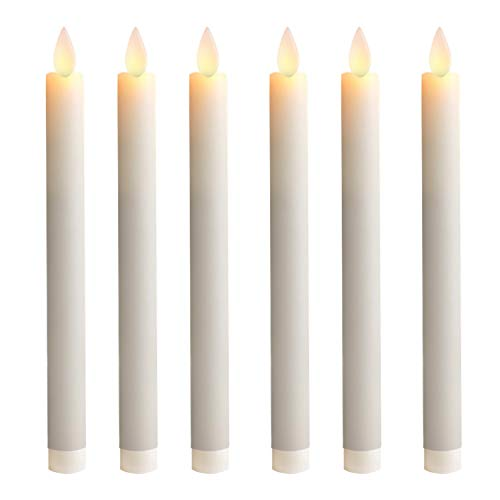 5PLOTS 9 Inch Wax Flameless Taper Candles with Moving Wick and Timers, Battery Operated Flickering LED Candlesticks for Easter, Dinner Table Centerpieces, Party Decoration, Set of 6
