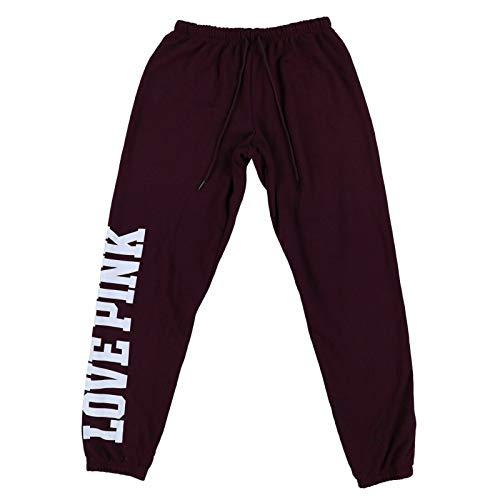 Victoria's Secret Pink Sweatpants Classic Fit Graphic Logo Pant (M, Dark Maroon)