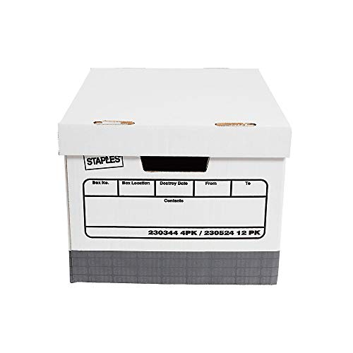 Staples Heavy-Duty Storage Boxes, Top Tab, Stacking Strength 850 lb, White/Gray, 9 3/4'H x 12'W x 15'D, 4/Ct