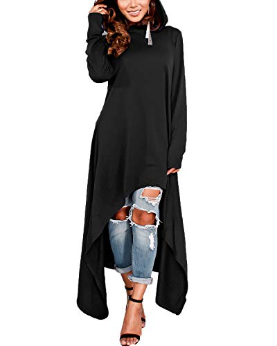 ZANZEA Womens Long Sleeve High Low Long Sweater Dress Hoodie Dresses Sweatshirt Pullover Cloak Tunic Tops Black XL