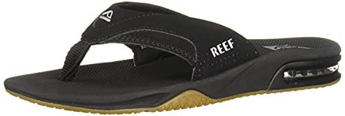 Reef Men's Fanning Sandals, Black/Silver, 11 D-Medium