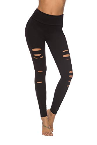 DIBAOLONG Womens High Waist Yoga Pants Cutout Ripped Tummy Control Workout Running Yoga Skinny LeggingsBlack L