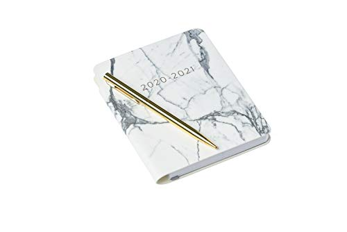 2020-2021 Eccolo Pocket 18 Month Planner, Marble Leatherette Flexible Covers with Pen, Weekly Views, Lined Notes Pages, 4x6'