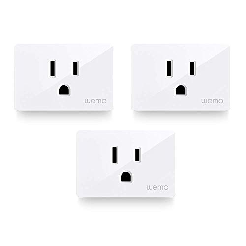 Wemo Smart Plug (Simple Setup Smart Outlet for Smart Home, Control Lights and Devices Remotely Works w/ Alexa, Google Assistant, Apple HomeKit), Pack of 3