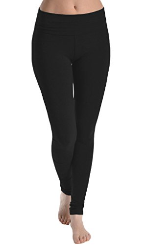 T Party Solid Fold Over Waistband Leggings, Large, Black