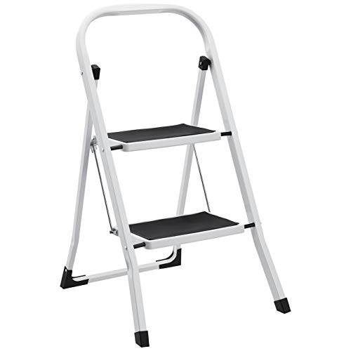 AmazonBasics Step Stool - 2-Step, Steel with Anti-slip Mat, 200-Pound Capacity, White and Black