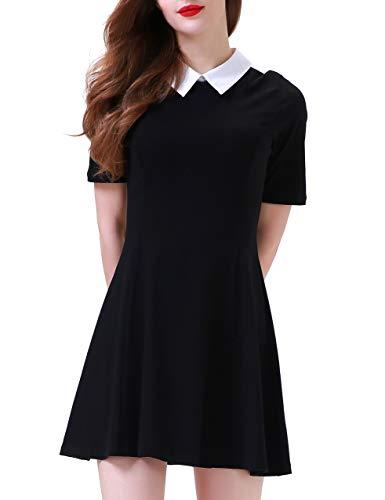 Aphratti Women's Short Sleeve Casual Peter Pan Collar Flare Dress Black XX-Large