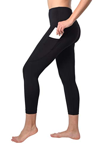 90 Degree By Reflex Squat Proof Side Phone Pocket Yoga Capris - High Waist Cropped Leggings - Black - Large