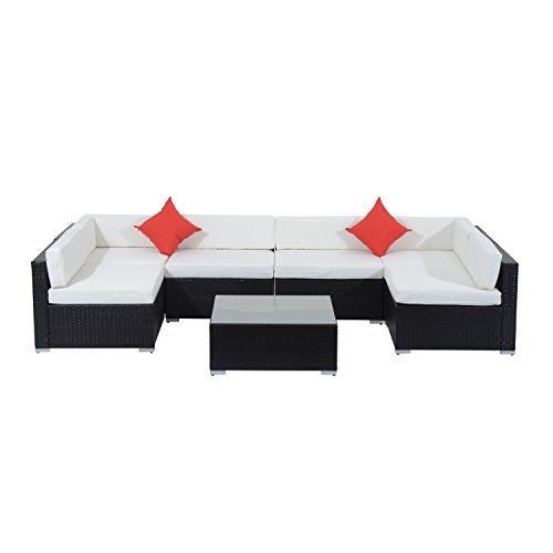Outsunny 7-Piece Outdoor Wicker Patio Sofa Set, Modern Rattan Conversation Furniture Set with Cushions, Pillows and Tea Table, Cream White