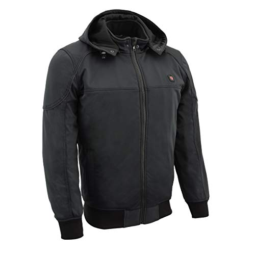 Milwaukee Leather MPM1761SET Men's Black Soft Shell Heated Racing Style Jacket Hoodie - Large