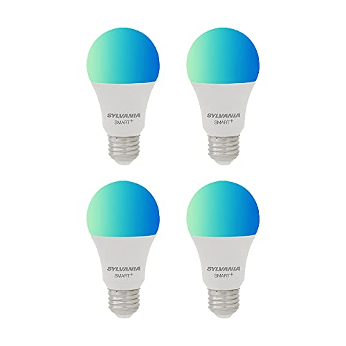 SYLVANIA WiFi LED Smart Light Bulb, 60W Equivalent, Dimmable Full Color A19, Works with Alexa and Google Home Only - 4 Pack (75674)