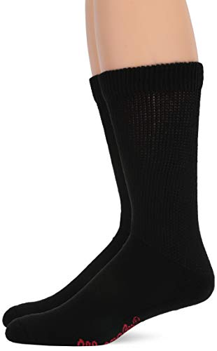 Wrangler Men's Non-Binding Ultra-Dri Smooth Toe Boot Crew Socks 2 Pair Pack, black Solid, Large