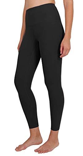 90 Degree By Reflex Ankle Length High Waist Power Flex Leggings - 7/8 Tummy Control Yoga Pants - Black - Small