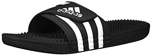 adidas Adissage Slide, Black/White/Black, 9 M US