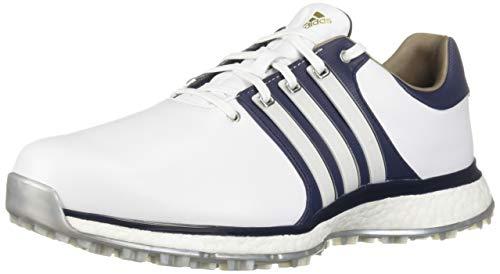 adidas Men's TOUR360 XT Spikeless Golf Shoe, FTWR White/Collegiate Navy/Silver Metallic, 10.5 M US