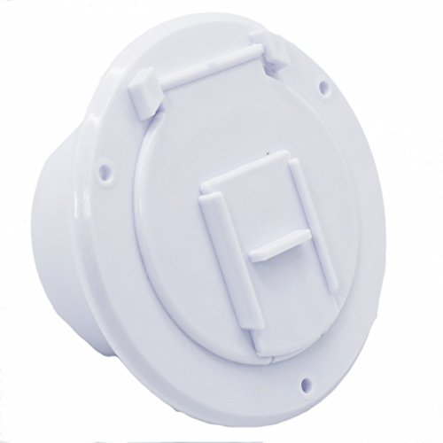 X-Haibei RV Trailer Camper Electric Power Cord Cable Hatch Round Fits 2-3/4 inches Dia. Hole Flip Up Cover (White)