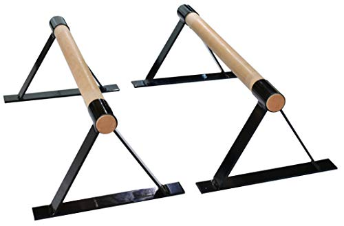 Wood Parallettes Set for Gymnastics or Push up Bars. Pink or Black in 18 inch to 24 inch Length. (Black, 24)