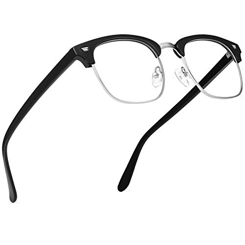 URUMQI Blue Light Blocking Glasses, Anti Eyestrain Computer Gaming Glasses for Men & Women, Non-Prescription Semi-Rimless Eyeglasses